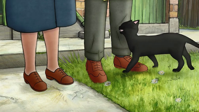 Ethel & Ernest - black cat rubbing against Ernest's leg