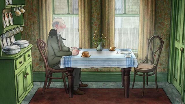Ethel & Ernest - black cat Susie lying across Ernest's shoulders at table