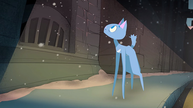 Fantasia Dei Gatti - blue cat in snow looking at concert hall