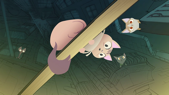 Fantasia Dei Gatti - alley cats looking down with surprise