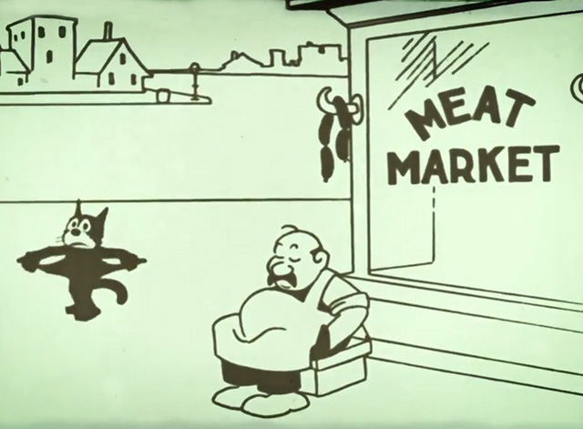 Felix Comes Back - Felix the cat hungry outside butcher shop