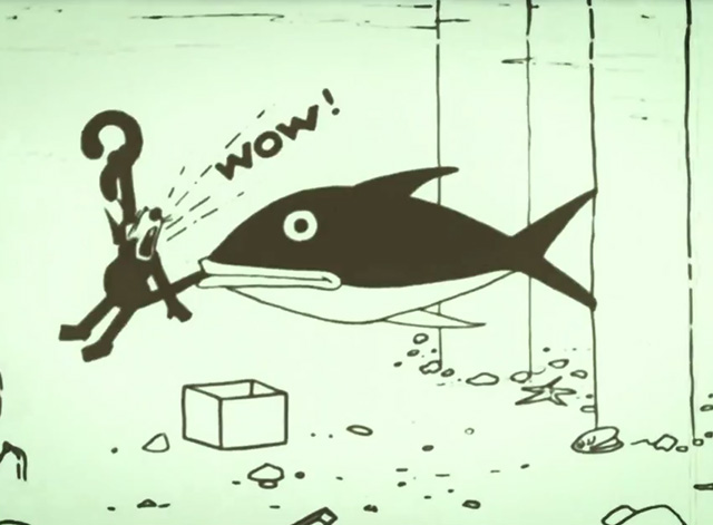 Felix Comes Back - Felix the cat tail being bitten by big fish