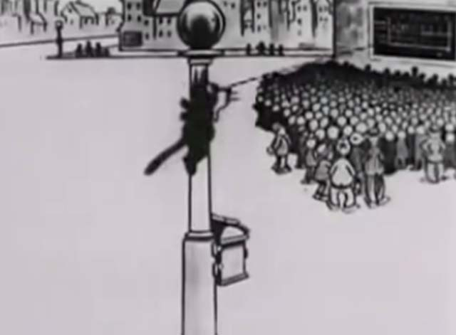 Felix Saves the Day - Felix the Cat climbs a light post to see the baseball scores