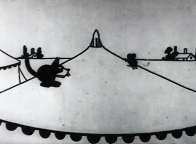 Frolics at the Circus - a mouse being chased on top of circus tent by Felix the Cat