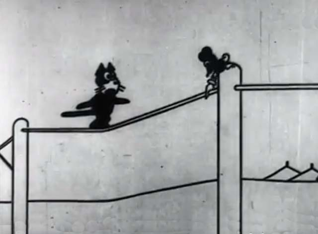 Frolics at the Circus - a mouse cuts the phone line Felix the Cat is standing upon