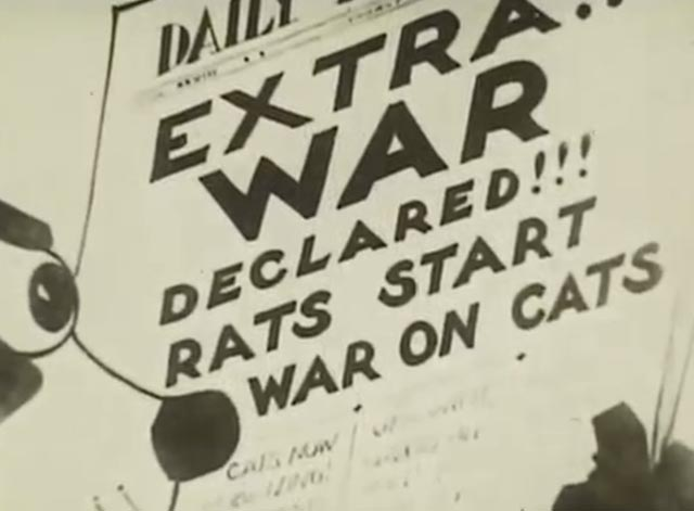 Felix Turns the Tide - Felix reads newspaper headline about rats declaring war on cats
