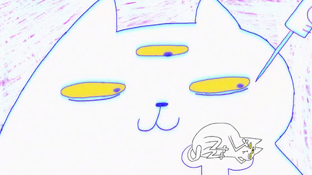 Fluffy's Third Eye - white cat with third eye pointing needle at tiny white cat