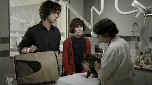 The Future - long haired tabby cat Paw Paw Ella with Jason Hamish Linklater and Sophie Miranda July