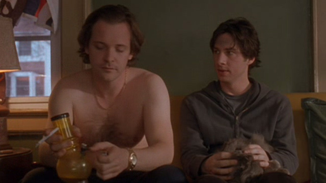 Garden State   Grey Cat On Lap Of Andrew Zach Braff With Mark Peter  Sarsgaard