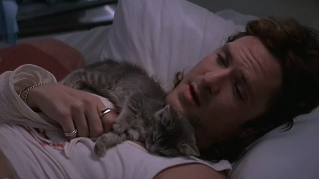 The Getaway - Rudy Michael Madsen lying on table with tabby kitten Kitty sleeping on chest