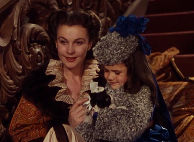 Gone With the Wind - Scarlett O'Hara and Bonnie Blue with tuxedo kitten