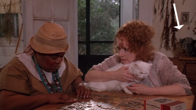 The Grass Harp - Dolly Piper Laurie with long haired white cat on table and Bengal tabby behind with Catherine Nell Carter