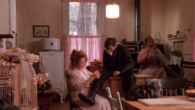 The Grass Harp - Dolly Piper Laurie with Collin Edward Furlong and Catherine Nell Carter with Bengal tabby cat on table