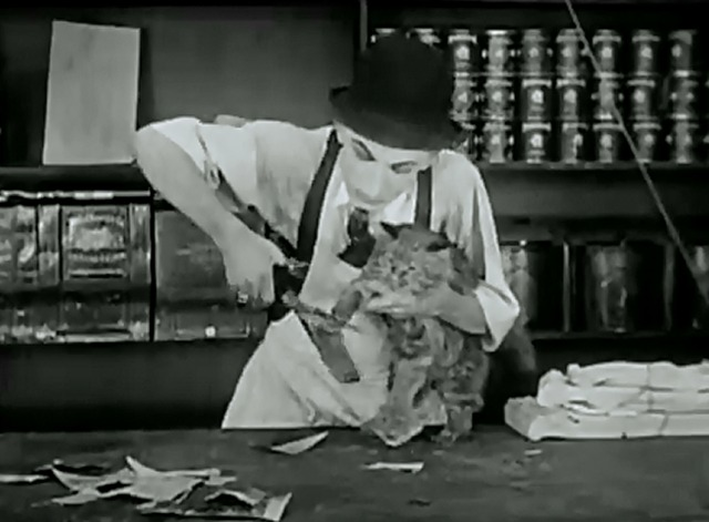 The Grocery Clerk - Larry Semon cuts flypaper around cat's paws