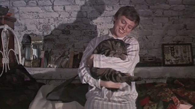 Half a Sixpence - Arthur Kipps Tommy Steele trying to wake Bengal tabby cat Edwin