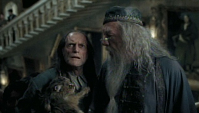 Harry Potter and the Prisoner of Azkaban - Mrs. Norris cat with Argus Filch and Dumbledore