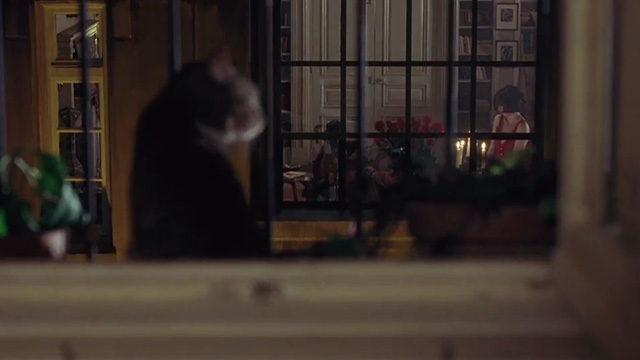 Head in the Clouds - blurry tabby cat with white markings on windowsill across the street from window with Penélope Cruz