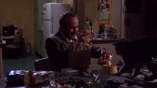 Heart Condition - Jack Moony Bob Hoskins pouring milk for long haired tabby Chuck on table