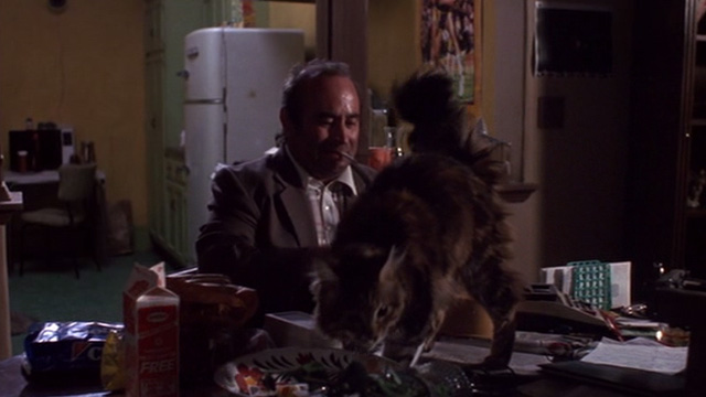 Heart Condition - Jack Moony Bob Hoskins with long haired tabby Chuck on table