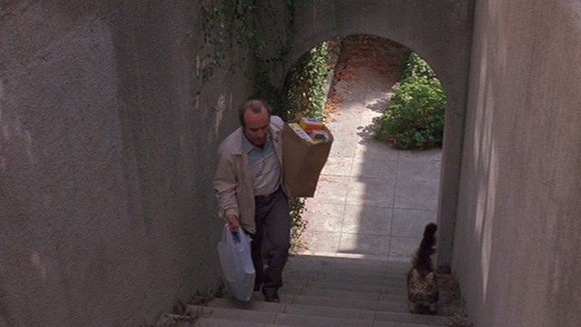 Heart Condition - Jack Moony Bob Hoskins walking up stairs with long haired tabby cat Chuck