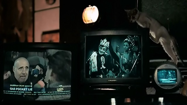 Hellboy II: The Golden Army - kitten climbing on television set