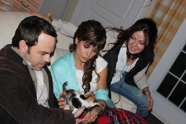 Hit by Lightning - behind the scenes photo with kitten