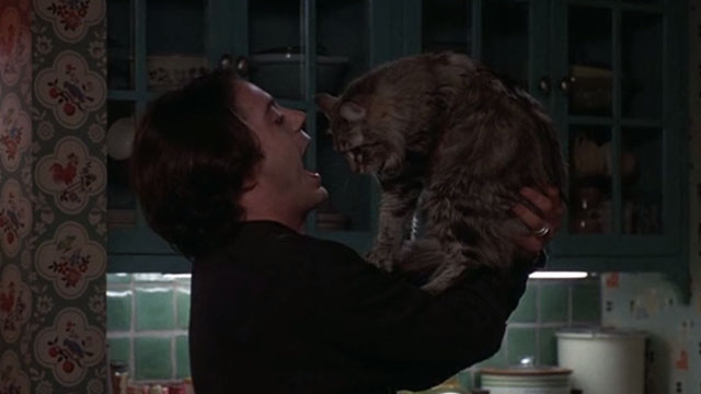 Home for the Holidays - Frank Maine Coon cat being held up by Tommy Robert Downey Jr.