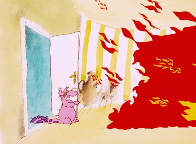 Hot Stuff - pink cat with purple spots on tail looking at fire