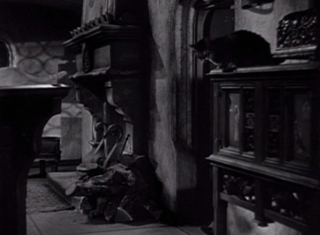 The Hunchback of Notre Dame 1939 - man enters Frollo's chamber filled with cats