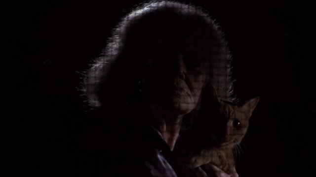 Jeepers Creepers - cat lady Eileen Brennan holding orange tabby cat behind screen