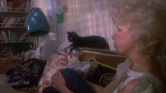 Jinxed! - black cat Angus sitting with Bonita Bette Midler in trailer
