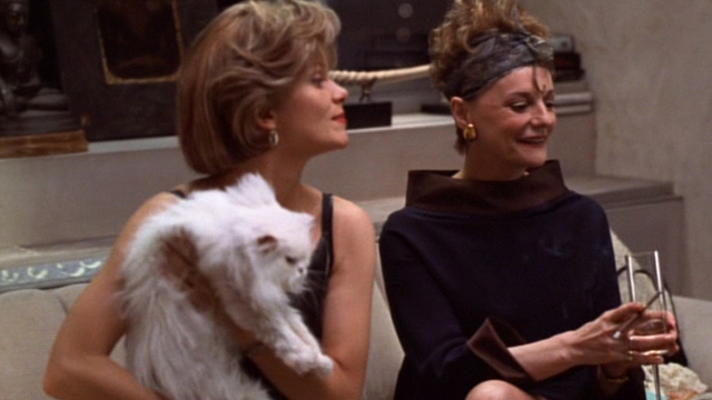 Jungle 2 Jungle - Charlotte Lolita Davidovich picking up Coco white Persian cat with Fiona Carole Shelley
