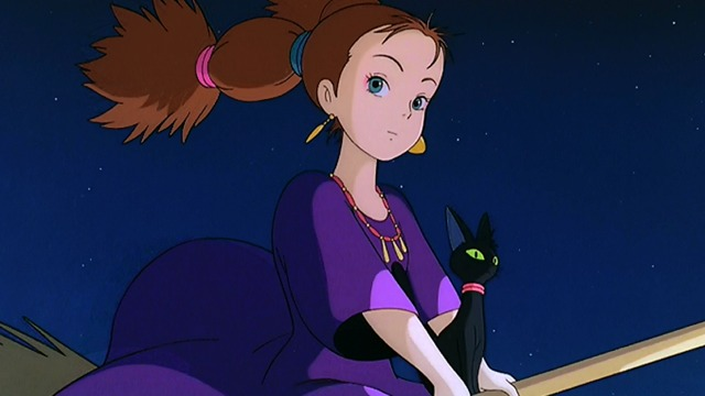 Kiki's Delivery Service - witch riding broom with serious black cat