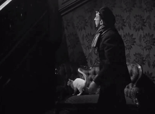 Lady on a Train - Nikki Deanna Durbin hiding from George Coulouris Mr. Saunders and white cat