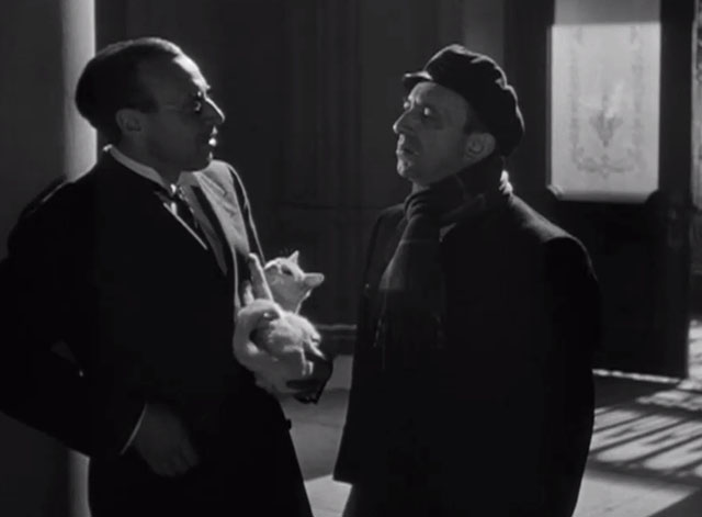 Lady on a Train - George Coulouris Mr. Saunders holding white cat with Deanna Durbin Nikki