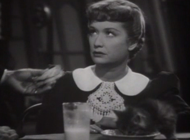Lady with Red Hair - tabby kitten drinking milk in front of Leslie Carter Miriam Hopkins