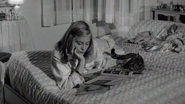 The Last Picture Show - Jacy Cybill Shepherd on bed with tabby cat