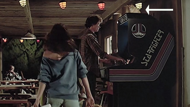 The Last Starfighter - orange tabby cat on top of Starfighter arcade game played by Alex Lance Guest at night