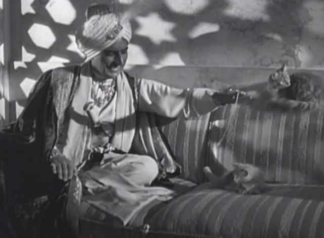 The Lives of a Bengal Lancer - Mohammed Khan Douglass Dumbrille sitting on sofa playing with kittens