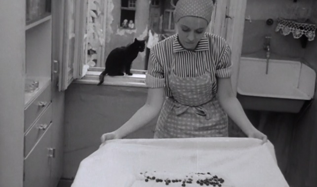 Love Affair or the Case of the Missing Switchboard Operator - black cat on windowsill behind Izabel making pastry