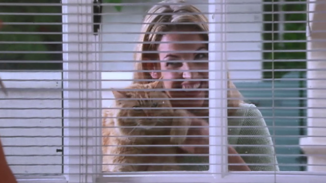 Love Stinks - Chelsea Bridgette Wilson holding longhaired ginger tabby Gracie outside window