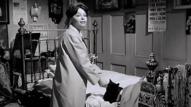 The L-Shaped Room - black cat Benji petted by Leslie Caron Jane