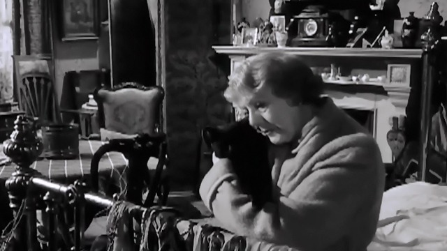 The L-Shaped Room - black cat Benji being held by Cicely Courtneidge Mavis