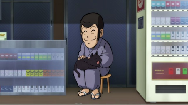 Lupin the 3rd vs. Detective Conan: The Movie - older man with Lupin mask sitting with grey cat on lap