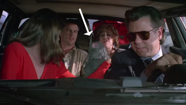 Madhouse - fake long-haired gray cat Scruffy about to throw up in car with Mark John Larroquette, Jessie Kirstie Alley, Fred John Diehl and Bernice Jessica Lundy