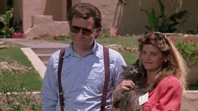 Madhouse - long-haired gray cat Scruffy in arms of Jessie Kirstie Alley with Mark John Larroquette