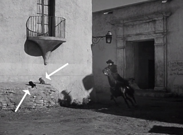 The Mark of Zorro - black and white cats on wall as Zorro approaches on horse