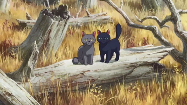 Mary and the Witch's Flower - black cat Tib and gray cat Gib sitting on fallen tree