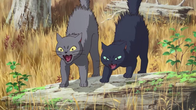 Mary and the Witch's Flower - black cat Tib and gray cat Gib hissing