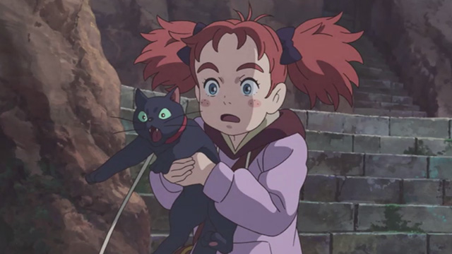 Mary and the Witch's Flower - Mary trying to hold frantic black cat Tib